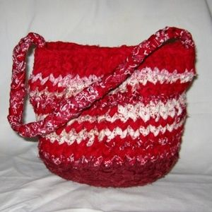 Moving Sale!  Boho Red Knit Handbag Bucket #3152